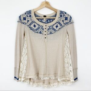 Free People Henley Fair Isle Lace Size XS Thermal